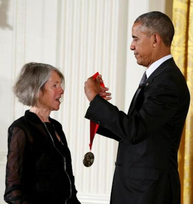 Louise Glück with President Obama.