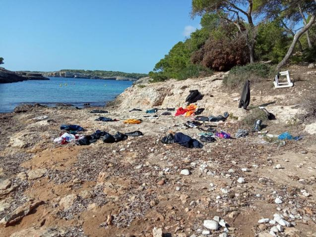 Migrant clothing at a beach in Mallorca