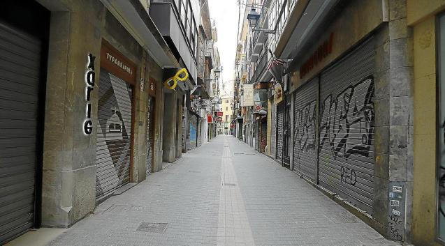 Closed shops in Palma, Mallorca