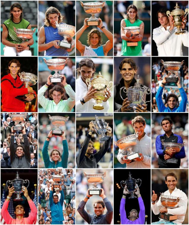 A combination picture shows Rafael Nadal with his trophies