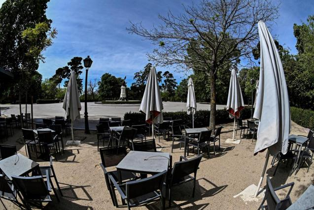 A terrace in the Retiro park in Madrid, closed during lockdown