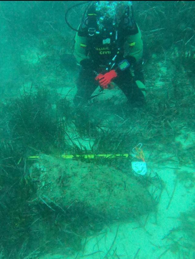 Civil War bomb in the sea off Mallorca