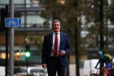 Britain's opposition Labour Party leader Keir Starmer leaves Lambeth Palace following a press conference in London, Britain