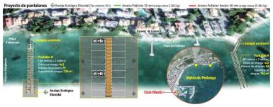 The project for floating piers in Puerto Pollensa.