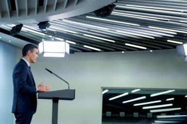 Spanish PM Sanchez attends a news conference.