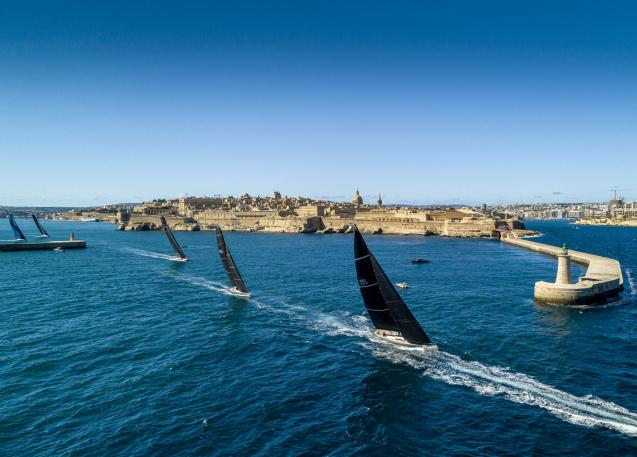 50 yachts from 15 countries started the 2020 Rolex Middle Sea Race