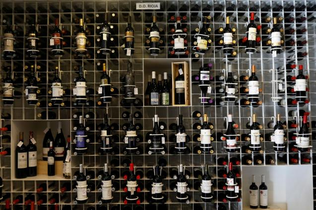 Bottles of wine with Rioja designation of origin are seen in a shop in Madrid
