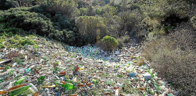 Dump of bottles and containers in Mallorca