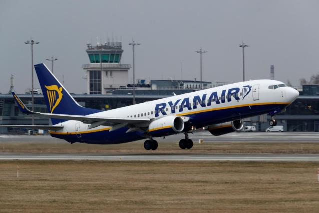 Ryanair Boeing 737-8AS plane takes off from Riga
