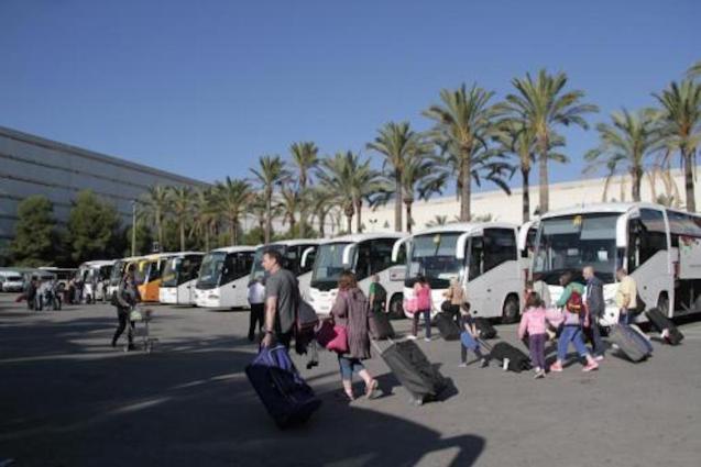 Tourist coaches at Palma Airport.