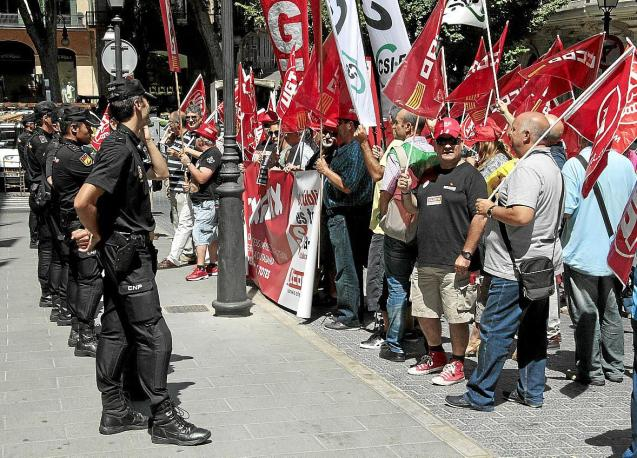 Public sector workers protesting in Palma, Mallorca