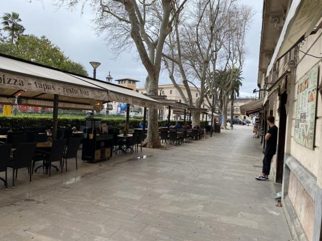 Empty restaurant terrace in Palma, Mallorca