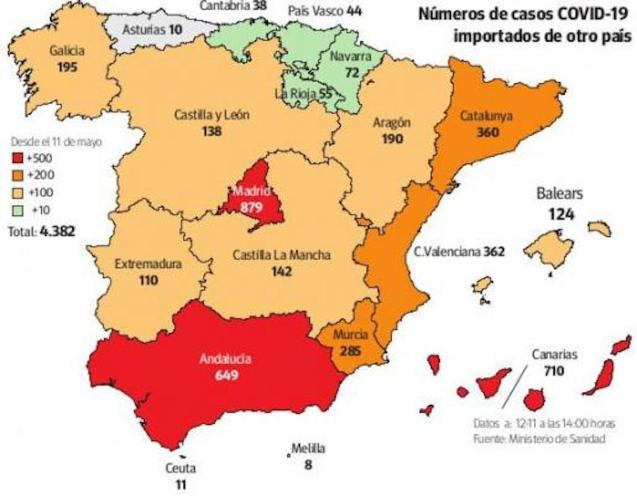 Covid-19 map of Spain.