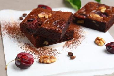 Espresso brownies with dark cherries and walnuts.