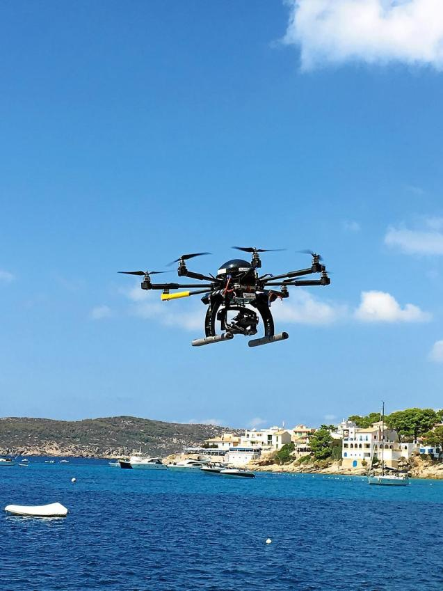 Drone flying over Andratx for environmental purposes.