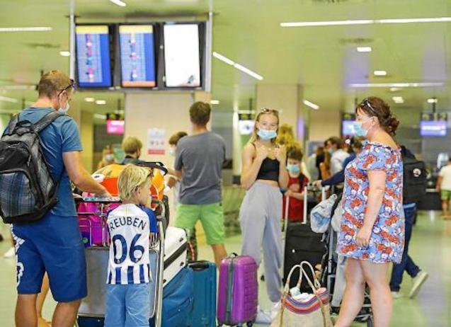British tourists at Son Sant Joan Airport in Palma.