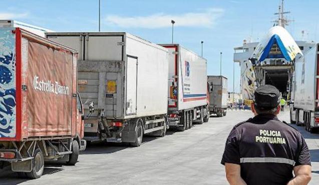 Trucks arriving in Mallorca.