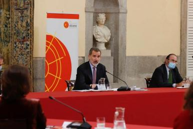 King Felipe chaired a meeting in Madrid on Monday.