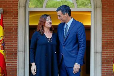 Francina Armengol, President of the Balearic Government & Pedro Sánchez, Spanish Prime Minister. archive photo.