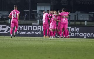 Real Mallorca celebrate going top in the match between FC Cartagena And RCD Mallorca