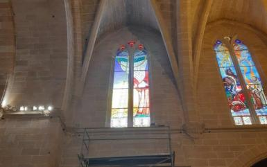 Stained glass windows honouring Ramon Llull in Algaida Church.