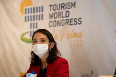 Spain's tourism minister, Reyes Maroto, at the Tourism World Congress in La Palma earlier this week,