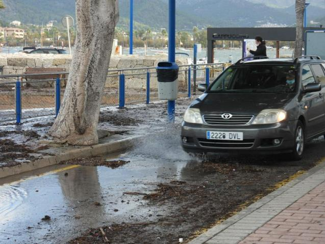 Puerto Andratx, Mallorca; waves threw stones onto the road