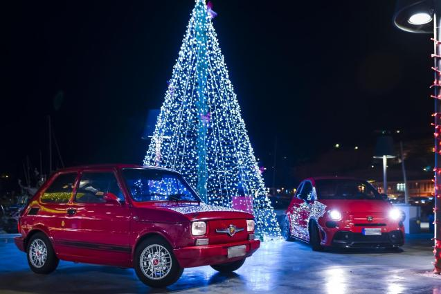Spectacular Christmas tree and Fiat Abarths