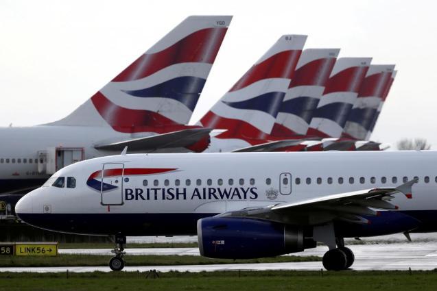 A British Airways plane taxis