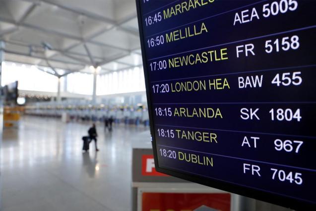 The information board at Malaga-Costa del Sol Airport