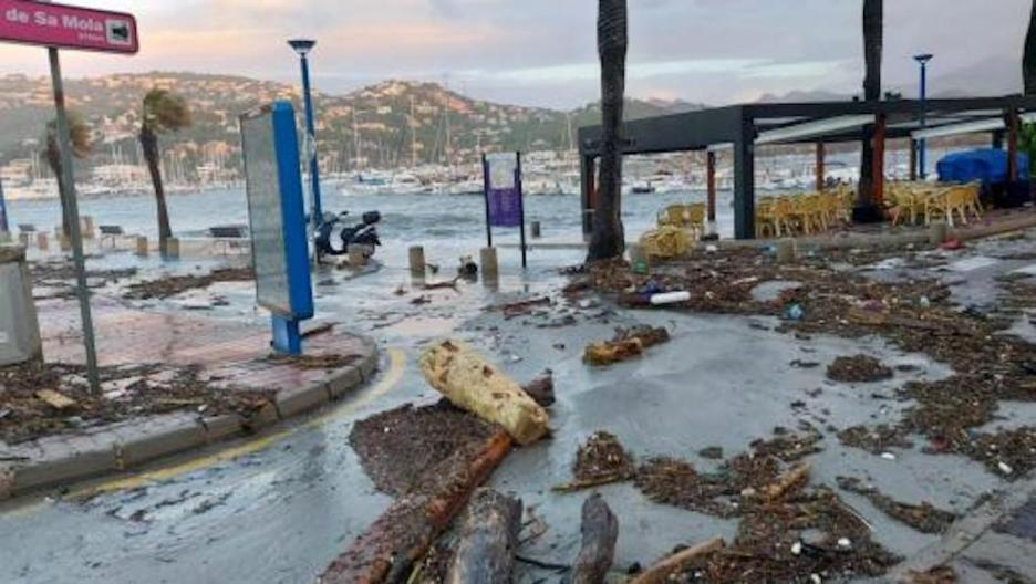 Damage can be seen after Storm Bella hits Puerto Andratx