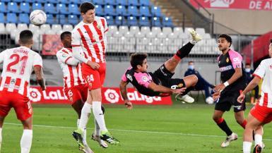 Real Mallorca's Abdon Prats scores one of the goals of the season so far.