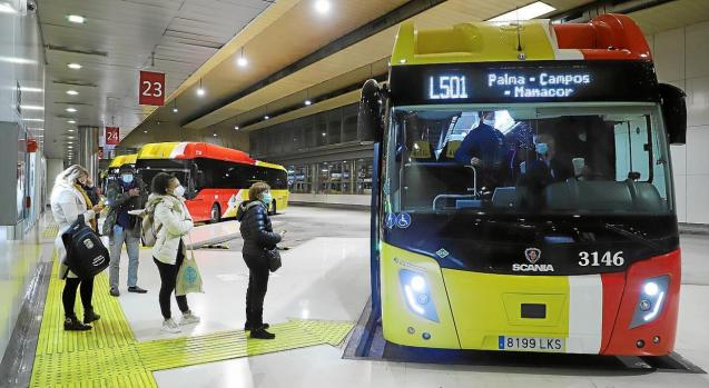 Buses at the Intermodal Station in Palma, Mallorca