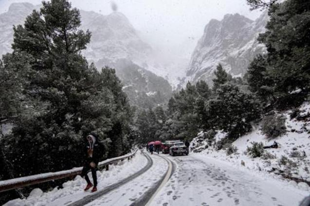 Heavy snow in the Serra de Tramuntana, Mallorca.