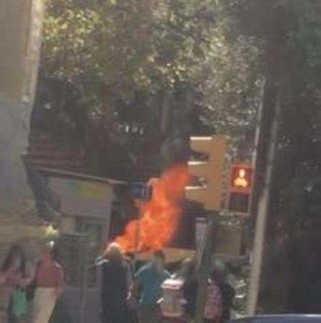 Rubbish container on fire in Palma.