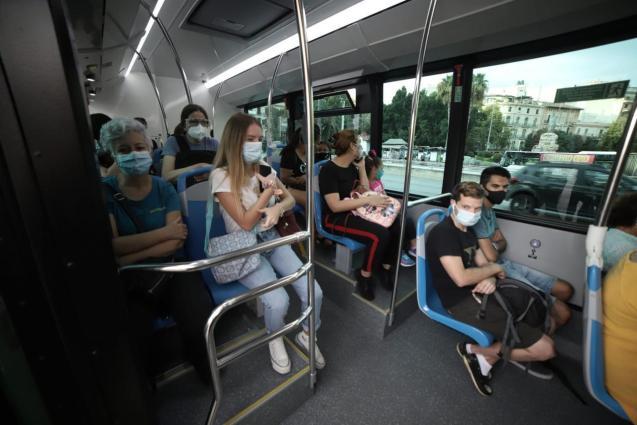 Passengers in a bus in Palma, Mallorca