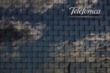 A general view shows the Telefonica headquarters in Madrid.