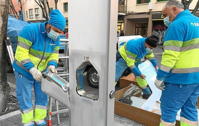 Water fountains being installed in Palma, Mallorca