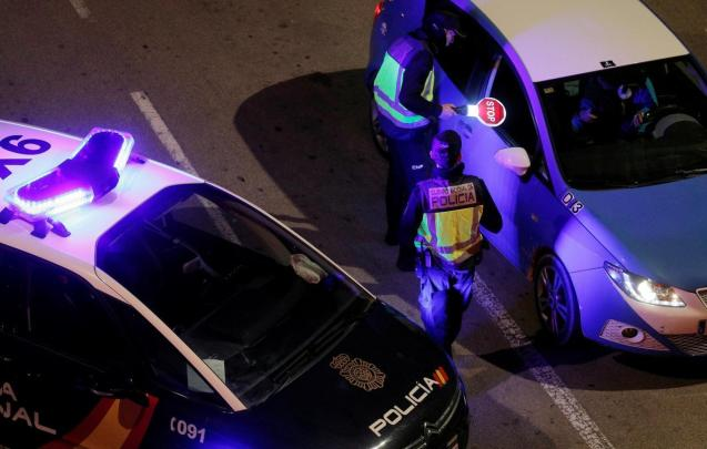 National Police carrying out a night patrol.