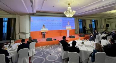 Spain's tourism minister, Reyes Maroto, speaking at the El Economista forum.