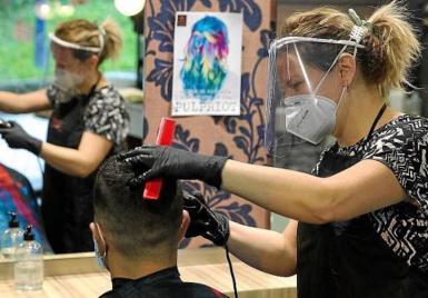 Hairdresser in Spain.