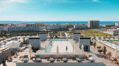 On the roofs there is a common area equipped with pool and sun beds.