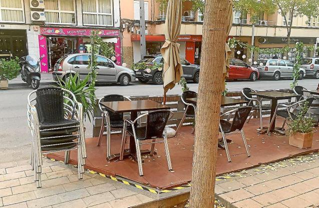 A temporary terrace in Palma, Mallorca
