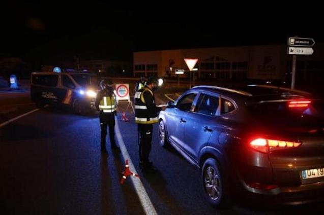 Police checkpoint in Manacor, Mallorca.