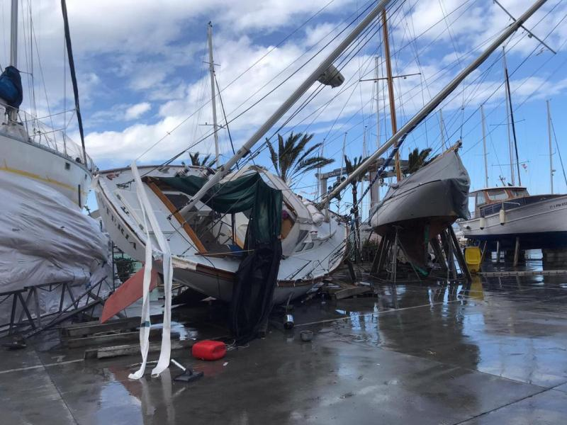 Sail boats on dry dock overturned by the storm in S'Arenal