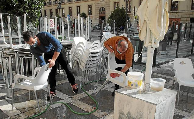 Disinfecting at a terrace in Palma, Mallorca