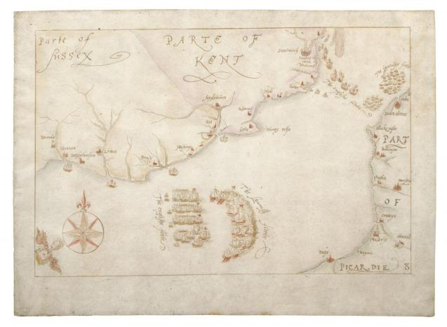 "One of ""Armada Maps"" is seen at the National Museum of the Royal Navy"