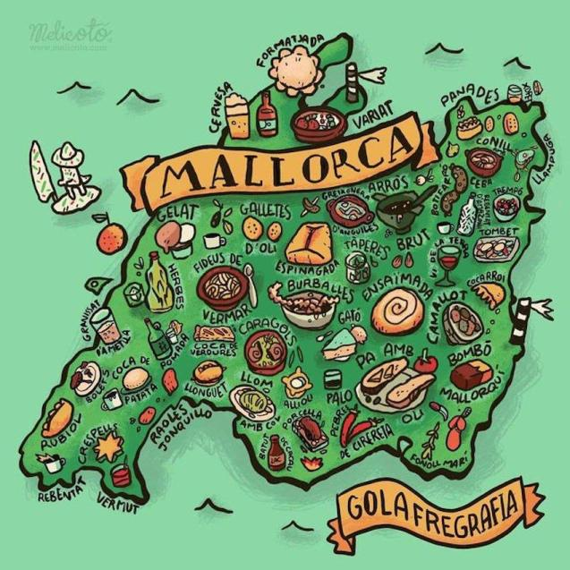 Melicotó Gastronomy Map of Mallorca.