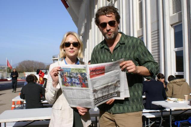 Miranda (Elen Rhys) and Max (Julian Looman) during the shoot at the Son Moix stadium in Palma