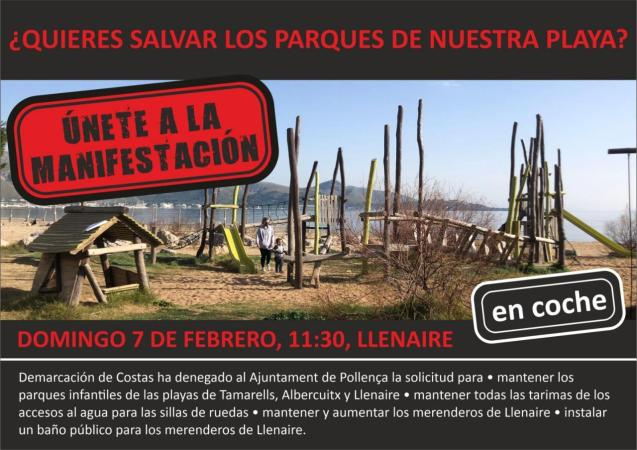 Protest against removal of children's playgrounds in Puerto Pollensa, Mallorca